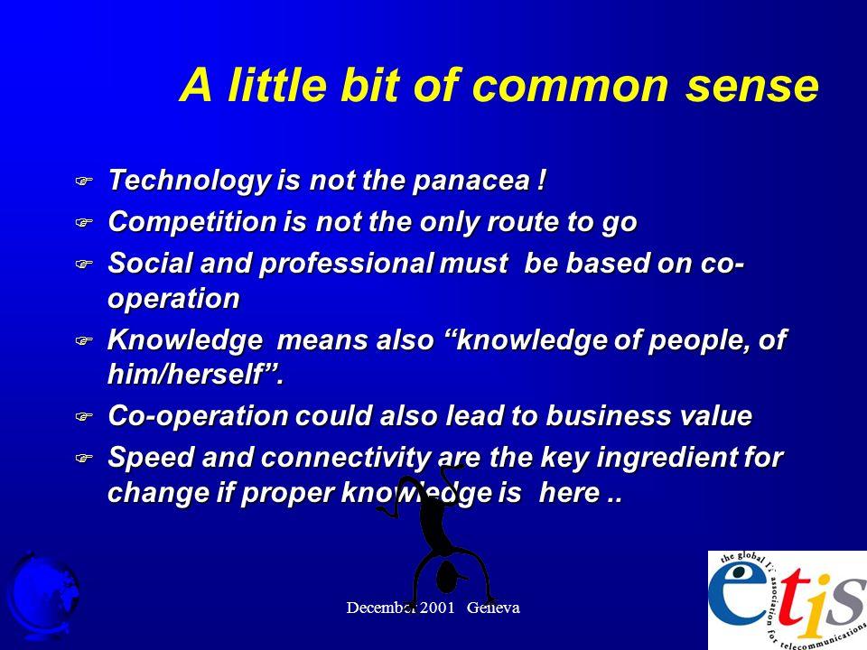 December 2001 Geneva 44 A little bit of common sense F Technology is not the panacea .