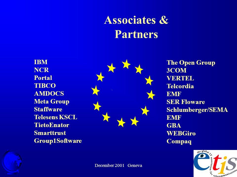 December 2001 Geneva 6 IBM NCR Portal TIBCO AMDOCS Meta Group Staffware Telesens KSCL TietoEnator Smarttrust Group1Software · Associates & Partners The Open Group 3COM VERTEL Telcordia EMF SER Floware Schlumberger/SEMA EMF GBA WEBGiro Compaq