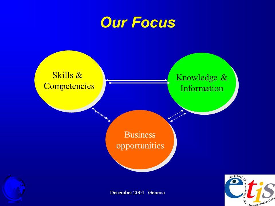 December 2001 Geneva 9 Our Focus Skills & Competencies Skills & Competencies Business opportunities Business opportunities Knowledge & Information Knowledge & Information