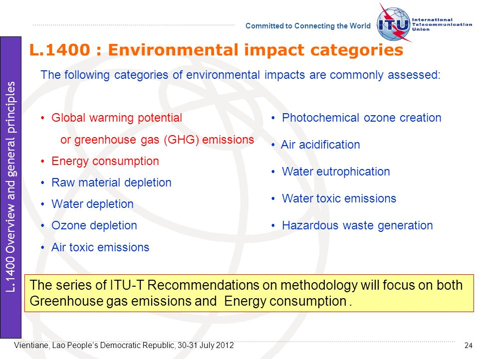 Committed to Connecting the World L.1400 : Environmental impact categories The following categories of environmental impacts are commonly assessed: Gl