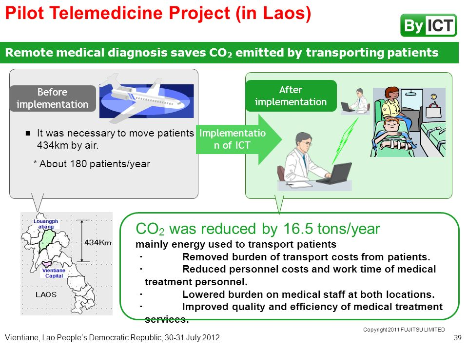 Vientiane, Lao Peoples Democratic Republic, 30-31 July 2012 Remote medical diagnosis saves CO 2 emitted by transporting patients Implementatio n of IC