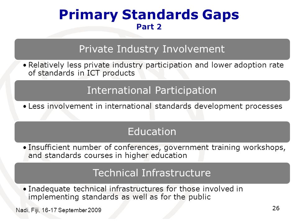 Primary Standards Gaps Part 2 Private Industry Involvement Relatively less private industry participation and lower adoption rate of standards in ICT products International Participation Less involvement in international standards development processes Education Insufficient number of conferences, government training workshops, and standards courses in higher education Technical Infrastructure Inadequate technical infrastructures for those involved in implementing standards as well as for the public Nadi, Fiji, 16-17 September 2009 26