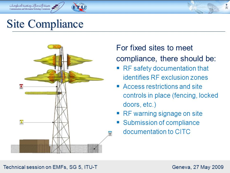21 Technical session on EMFs, SG 5, ITU-T Geneva, 27 May 2009 Site Assessments Sites should be assessed to ensure compliance with the Guidelines.