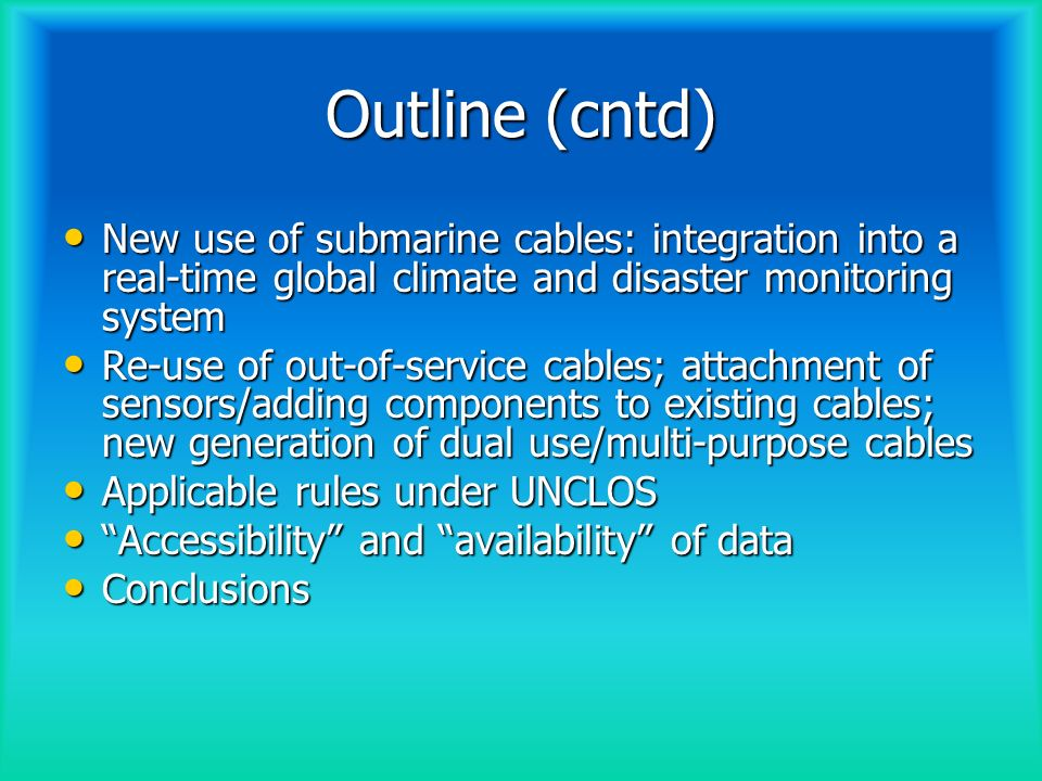 The laying of submarine cables: a traditional use of the seas Since 1850, when the first international telegraph link was established between England and France, the objective of laying submarine cables has been the same: to provide and facilitate international telecommunications Since 1850, when the first international telegraph link was established between England and France, the objective of laying submarine cables has been the same: to provide and facilitate international telecommunications The international community has recognized the strategic value of submarine cables and since 1884 has adopted measures for their regulation and protection (c.f.