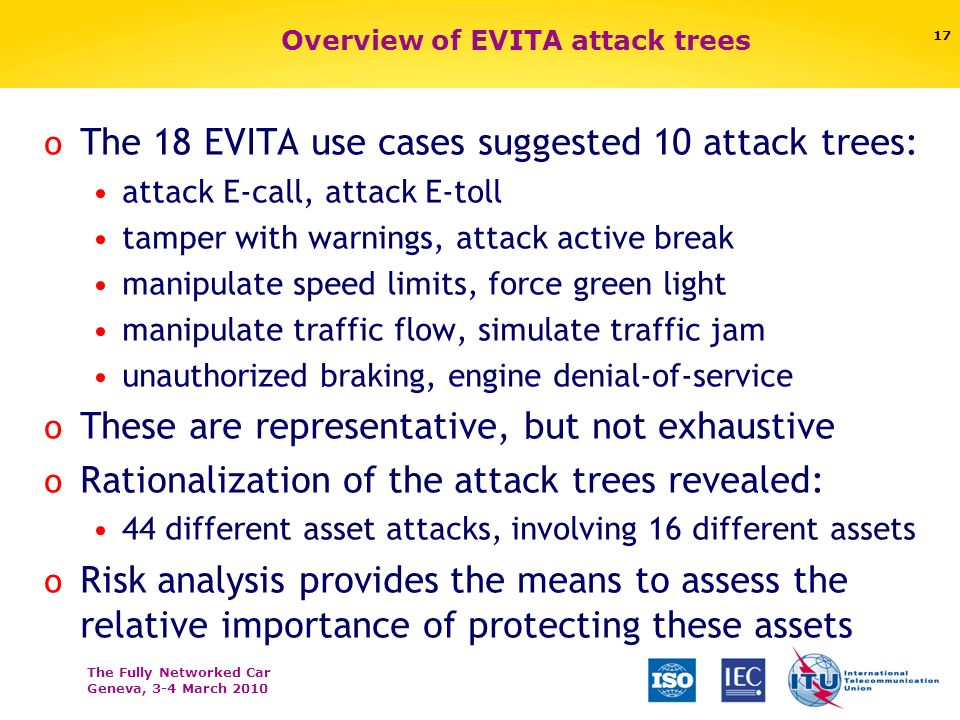 The Fully Networked Car Geneva, 3-4 March 2010 Overview of EVITA attack trees o The 18 EVITA use cases suggested 10 attack trees: attack E-call, attack E-toll tamper with warnings, attack active break manipulate speed limits, force green light manipulate traffic flow, simulate traffic jam unauthorized braking, engine denial-of-service o These are representative, but not exhaustive o Rationalization of the attack trees revealed: 44 different asset attacks, involving 16 different assets o Risk analysis provides the means to assess the relative importance of protecting these assets 17