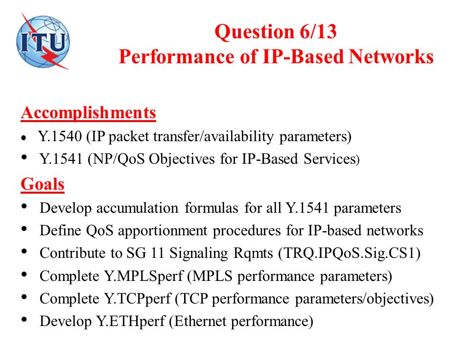 Question 6/13 Performance of IP-Based Networks Accomplishments Y.1540 (IP packet transfer/availability parameters) Y.1541 (NP/QoS Objectives for IP-Ba
