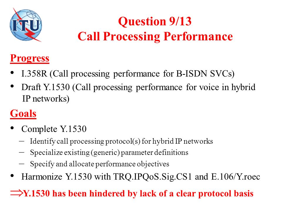 Question 9/13 Call Processing Performance Progress I.358R (Call processing performance for B-ISDN SVCs) Draft Y.1530 (Call processing performance for