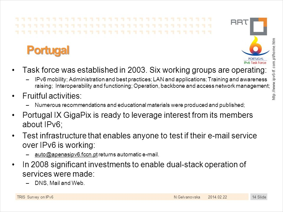N.Gelvanovska Portugal Task force was established in 2003. Six working groups are operating: –IPv6 mobility; Administration and best practices; LAN an