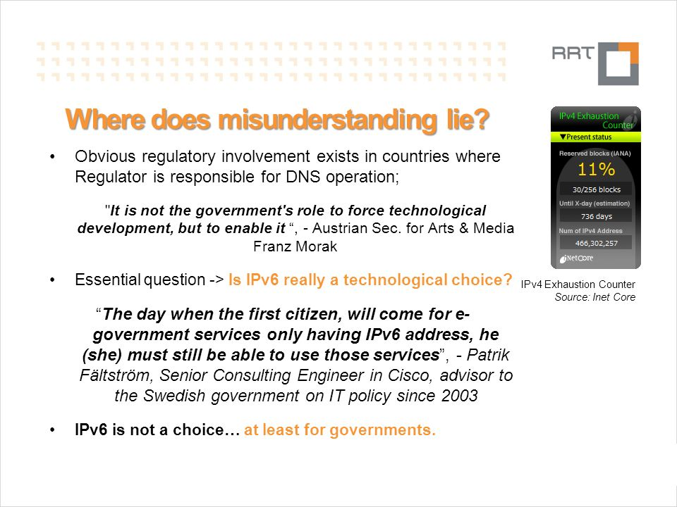 N.Gelvanovska Where does misunderstanding lie? Obvious regulatory involvement exists in countries where Regulator is responsible for DNS operation;