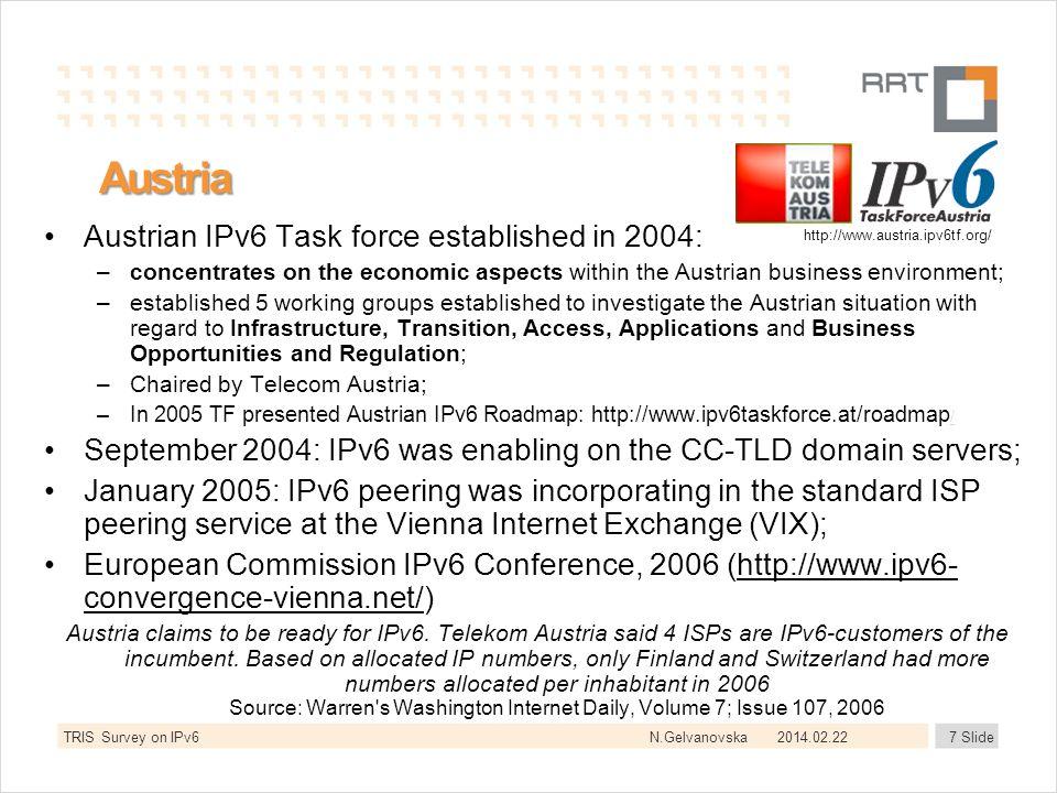 N.Gelvanovska2014.02.227 Slide Austria Austrian IPv6 Task force established in 2004: –concentrates on the economic aspects within the Austrian busines