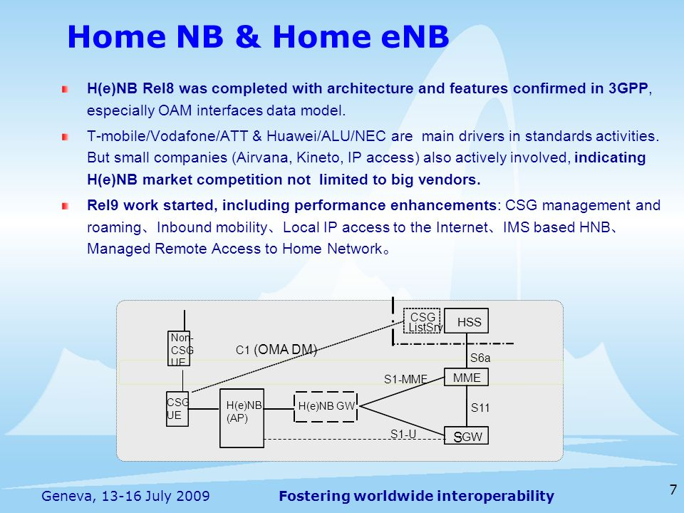 Fostering worldwide interoperability 7 Geneva, 13-16 July 2009 H(e)NB Rel8 was completed with architecture and features confirmed in 3GPP, especially