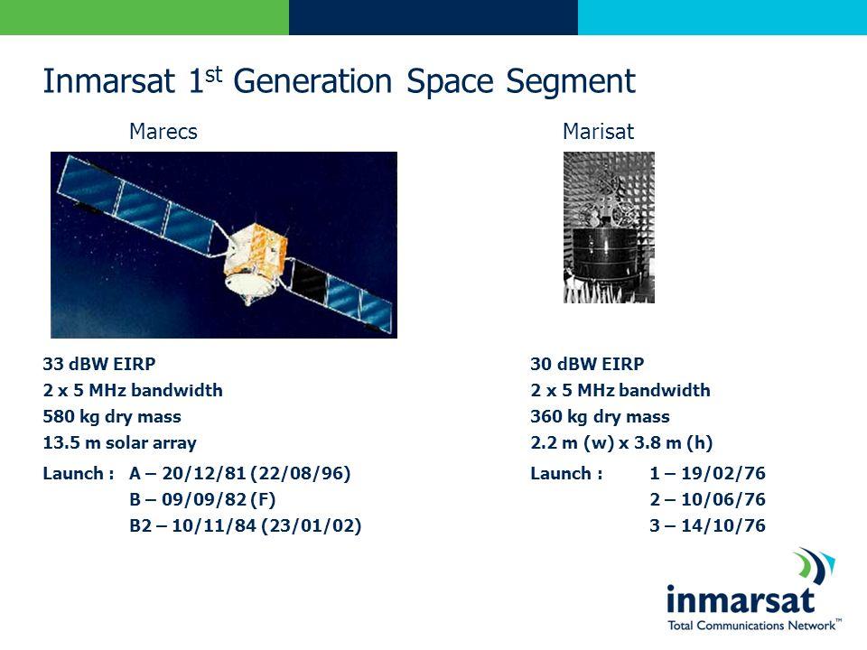 Inmarsat 1 st Generation Space Segment Marecs Marisat 33 dBW EIRP 30 dBW EIRP 2 x 5 MHz bandwidth 580 kg dry mass 360 kg dry mass 13.5 m solar array 2