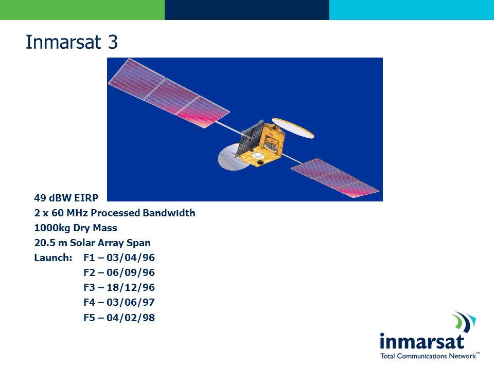 Inmarsat 3 49 dBW EIRP 2 x 60 MHz Processed Bandwidth 1000kg Dry Mass 20.5 m Solar Array Span Launch:F1 – 03/04/96 F2 – 06/09/96 F3 – 18/12/96 F4 – 03