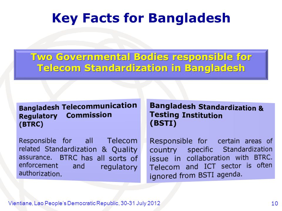Vientiane, Lao Peoples Democratic Republic, 30-31 July 201210 Key Facts for Bangladesh Two Governmental Bodies responsible for Telecom Standardization