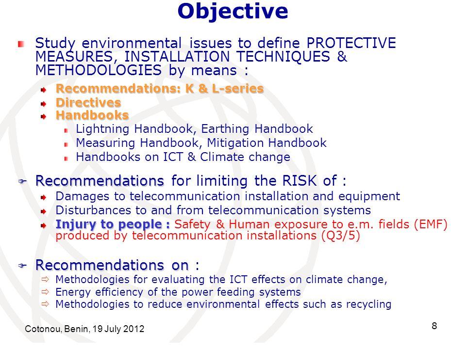 Cotonou, Benin, 19 July 2012 9 ITU-T SG5 Question 3/5 Human exposure to electromagnetic fields (EMFs) due to radio systems and mobile equipment Fryderyk Lewicki Rapporteur: Fryderyk Lewicki (Poland) Tariq Alamri Associate Rapporteur: Tariq Alamri (Saudi Arabia)