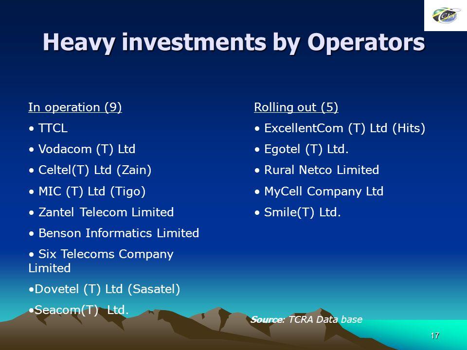 17 Heavy investments by Operators In operation (9) TTCL Vodacom (T) Ltd Celtel(T) Ltd (Zain) MIC (T) Ltd (Tigo) Zantel Telecom Limited Benson Informatics Limited Six Telecoms Company Limited Dovetel (T) Ltd (Sasatel) Seacom(T) Ltd.