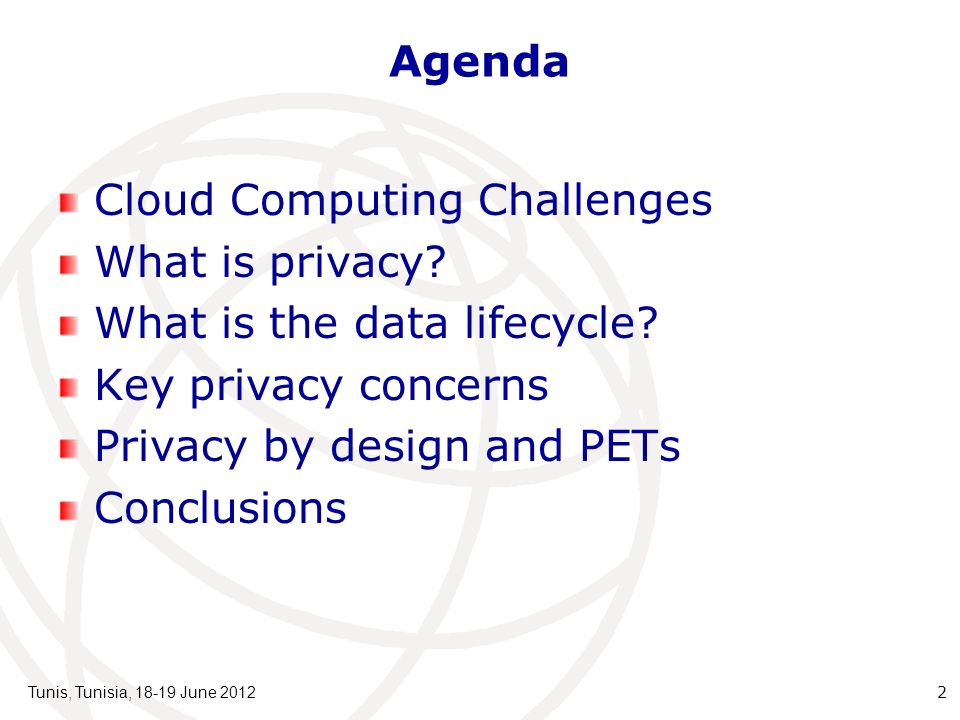 Agenda Cloud Computing Challenges What is privacy.