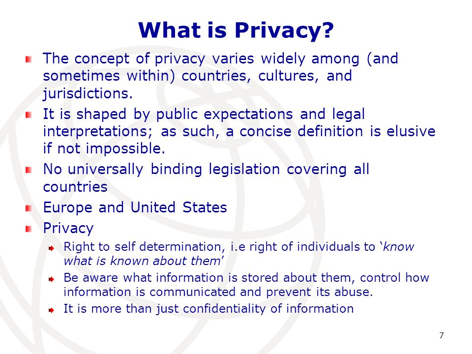 What is Privacy? The concept of privacy varies widely among (and sometimes within) countries, cultures, and jurisdictions. It is shaped by public expe
