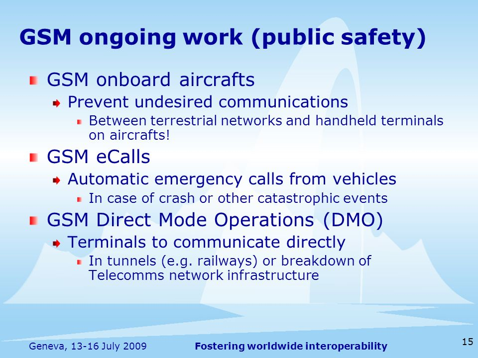 Fostering worldwide interoperability 15 Geneva, 13-16 July 2009 GSM onboard aircrafts Prevent undesired communications Between terrestrial networks and handheld terminals on aircrafts.