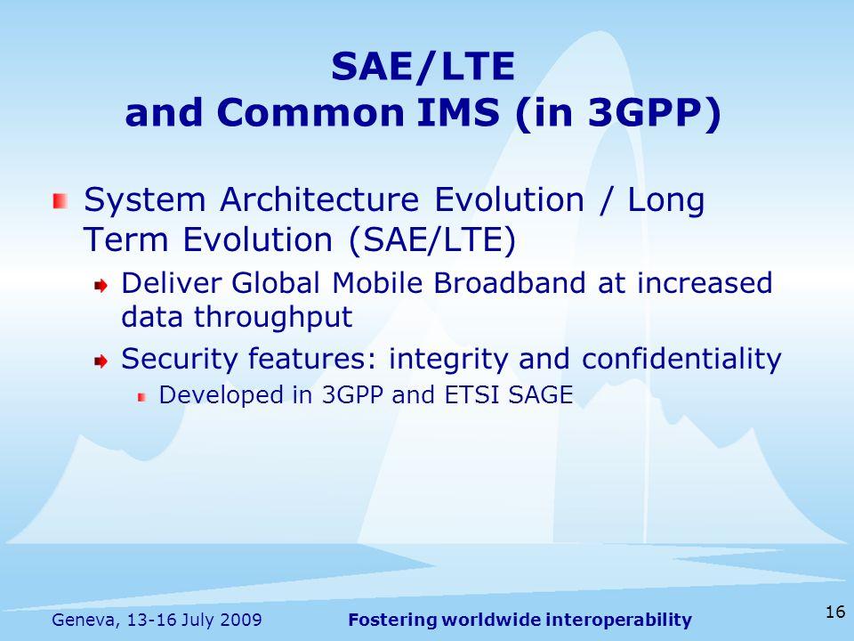 Fostering worldwide interoperability 16 Geneva, 13-16 July 2009 System Architecture Evolution / Long Term Evolution (SAE/LTE) Deliver Global Mobile Br