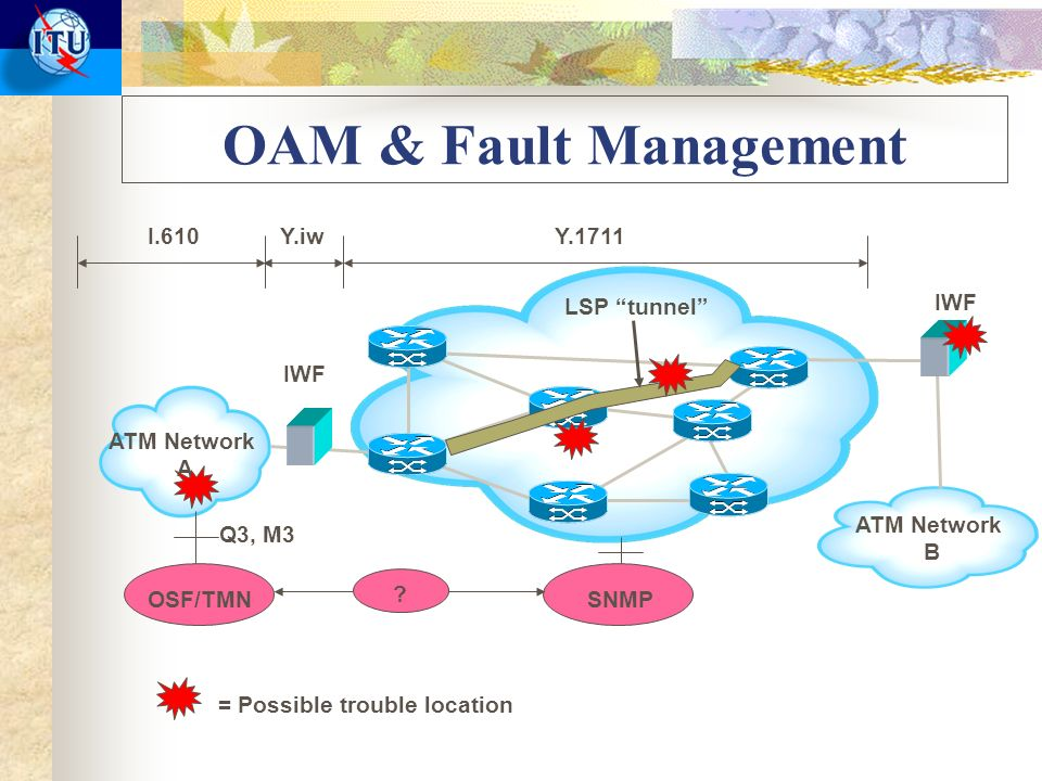 OAM & Fault Management ATM Network A ATM Network B LSP tunnel IWF = Possible trouble location I.610Y.1711Y.iw OSF/TMNSNMP .