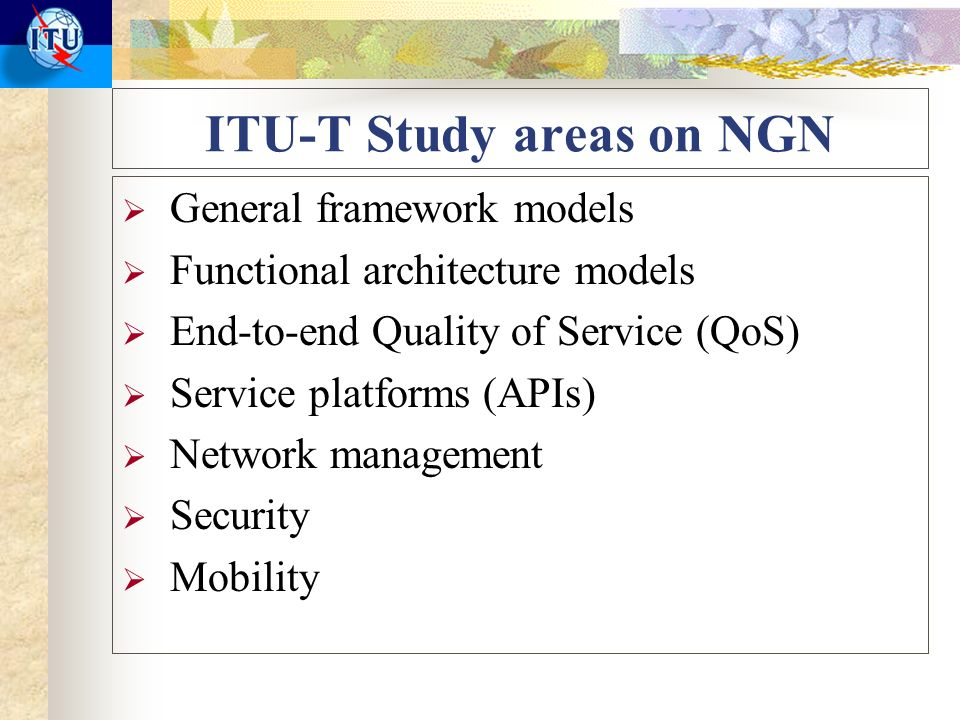 ITU-T Study areas on NGN General framework models Functional architecture models End-to-end Quality of Service (QoS) Service platforms (APIs) Network management Security Mobility