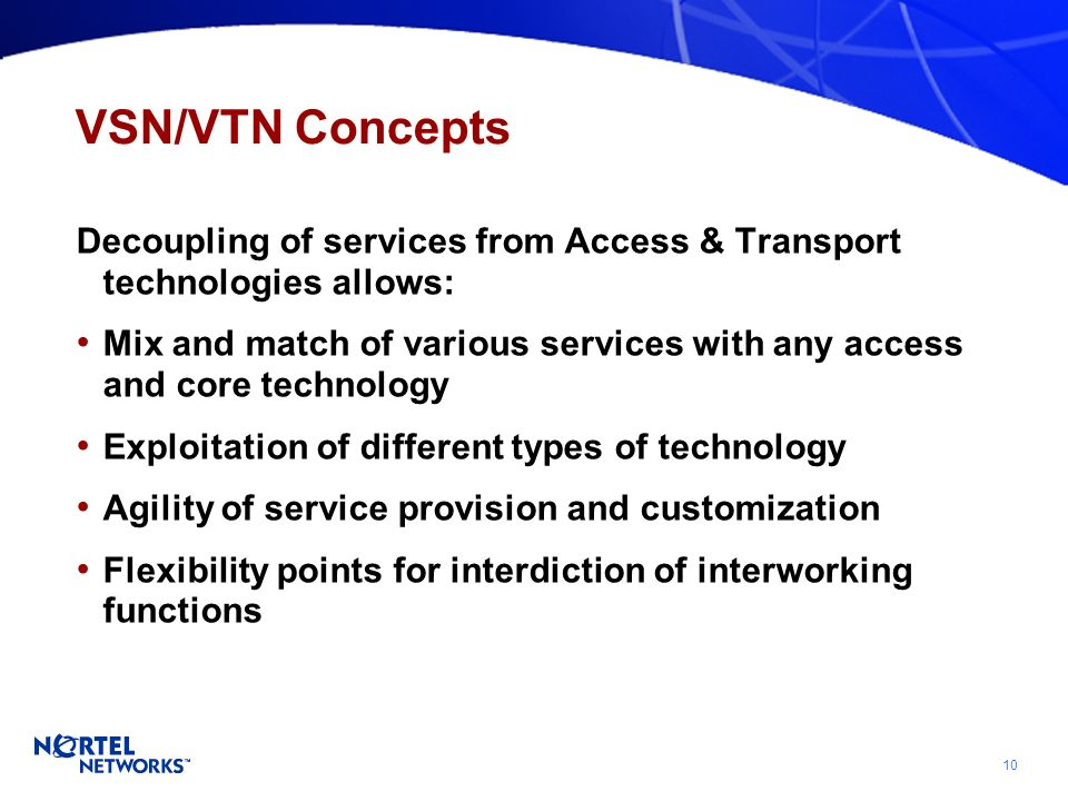 10 VSN/VTN Concepts Decoupling of services from Access & Transport technologies allows: Mix and match of various services with any access and core technology Exploitation of different types of technology Agility of service provision and customization Flexibility points for interdiction of interworking functions