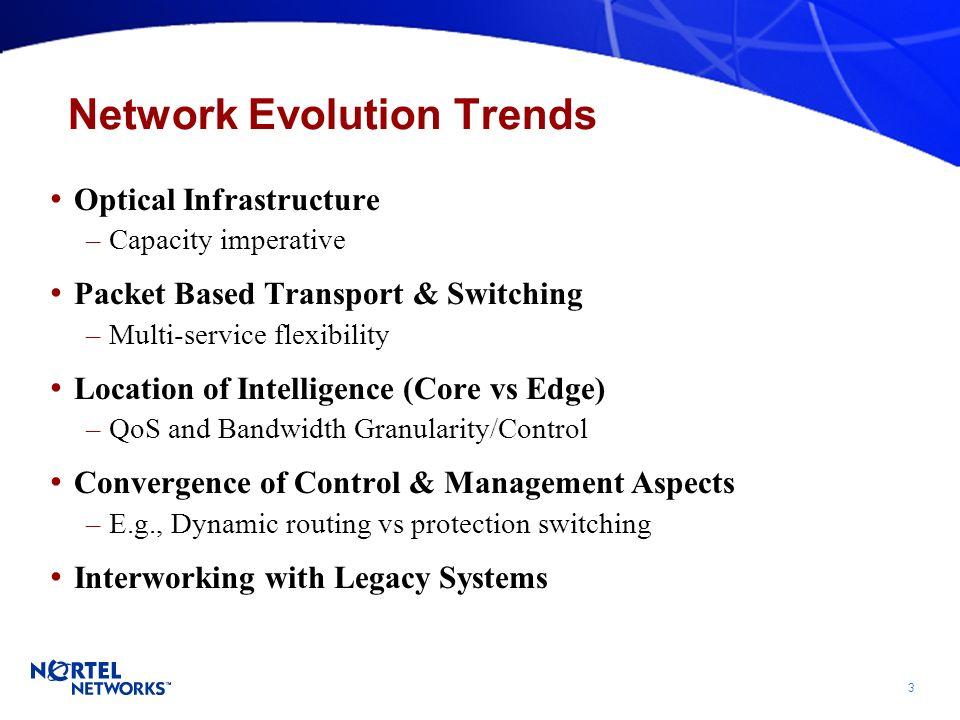 3 Network Evolution Trends Optical Infrastructure –Capacity imperative Packet Based Transport & Switching –Multi-service flexibility Location of Intelligence (Core vs Edge) –QoS and Bandwidth Granularity/Control Convergence of Control & Management Aspects –E.g., Dynamic routing vs protection switching Interworking with Legacy Systems