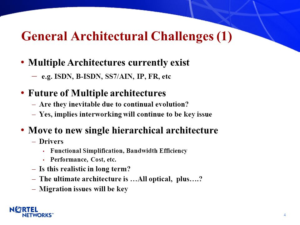 4 General Architectural Challenges (1) Multiple Architectures currently exist – e.g.