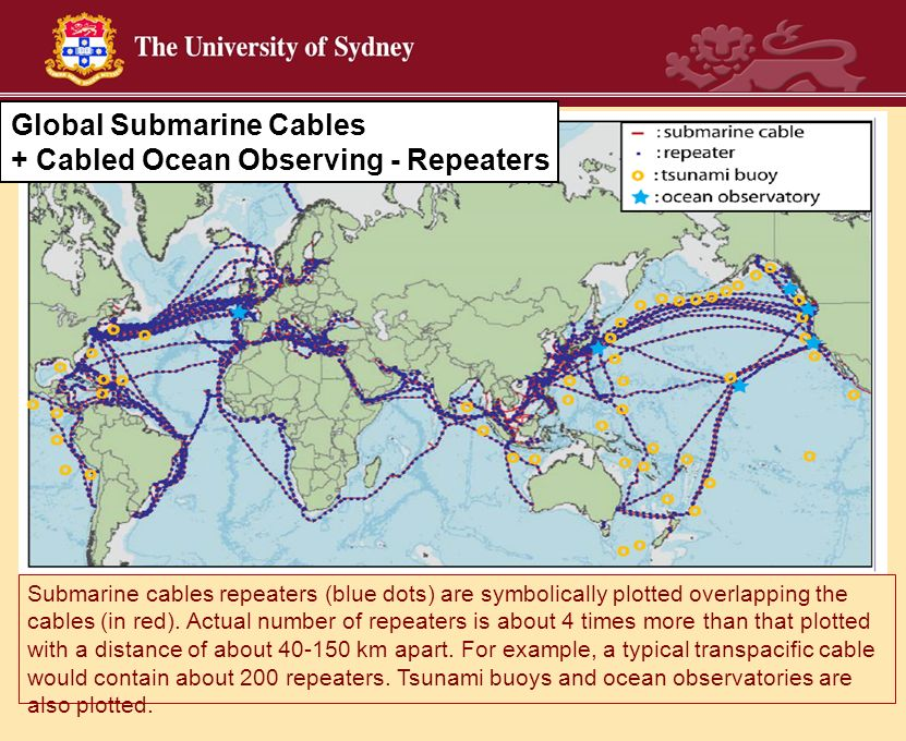 Submarine cables repeaters (blue dots) are symbolically plotted overlapping the cables (in red). Actual number of repeaters is about 4 times more than
