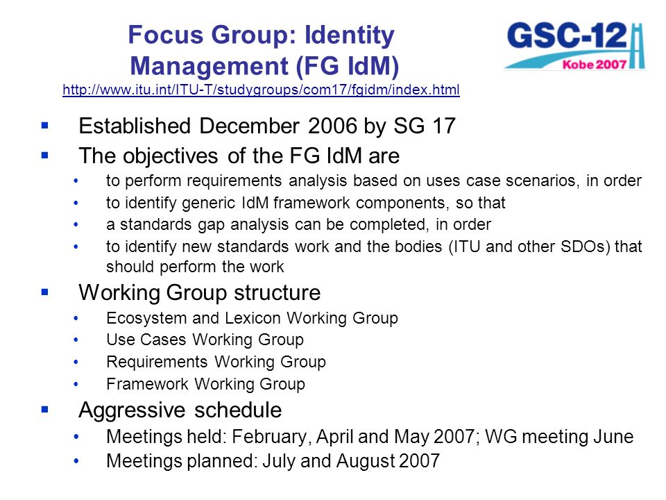 Established December 2006 by SG 17 The objectives of the FG IdM are to perform requirements analysis based on uses case scenarios, in order to identif