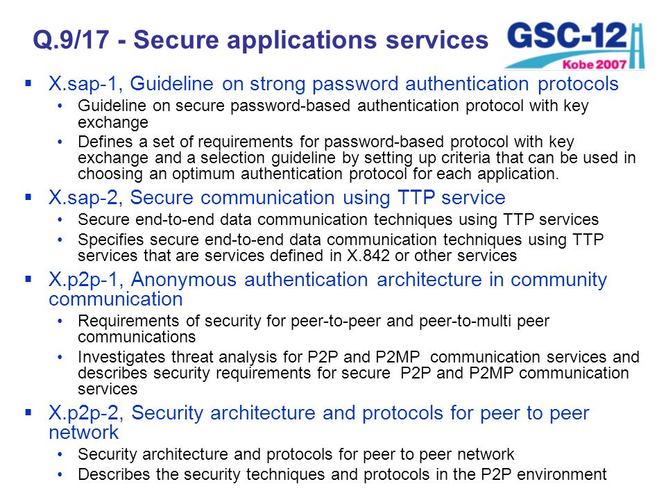 Q.9/17 - Secure applications services X.sap-1, Guideline on strong password authentication protocols Guideline on secure password-based authentication