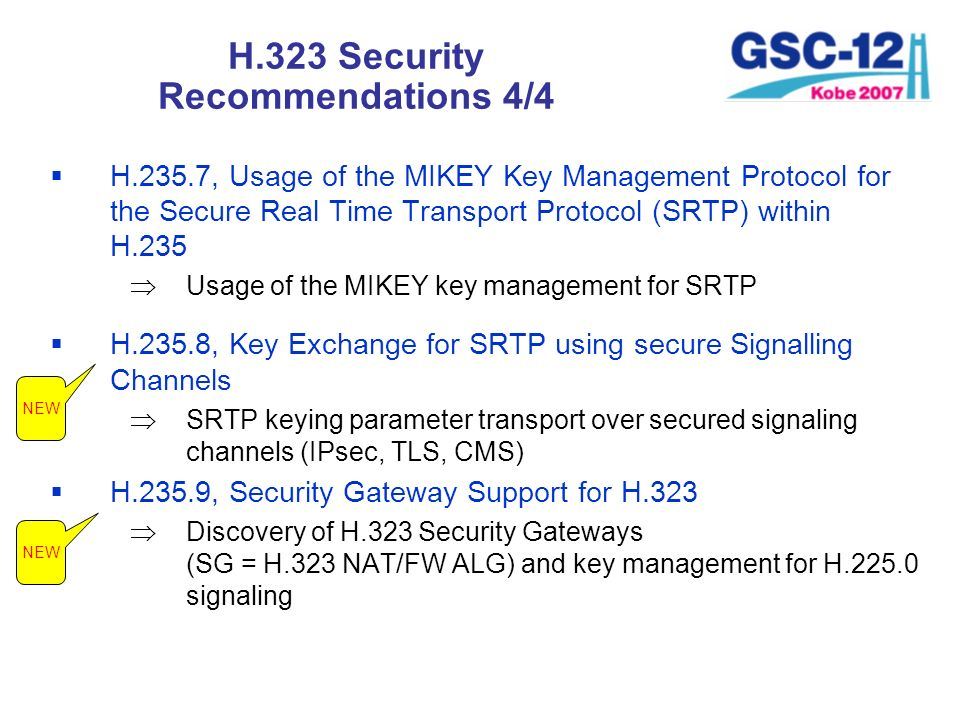 H.323 Security Recommendations 4/4 H.235.7, Usage of the MIKEY Key Management Protocol for the Secure Real Time Transport Protocol (SRTP) within H.235