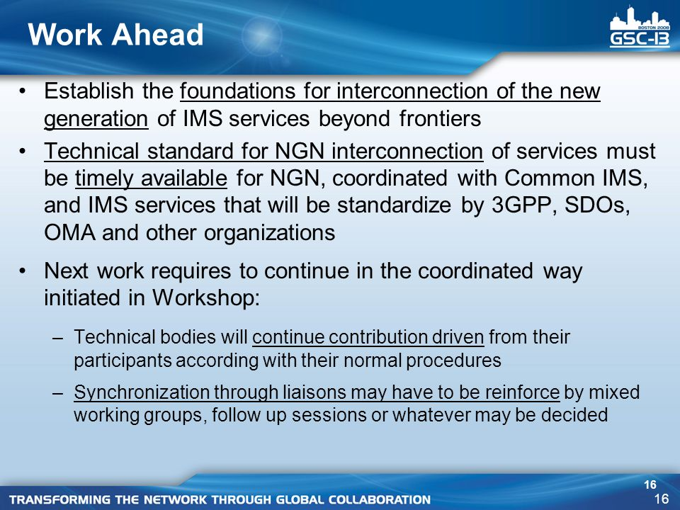 16 Work Ahead Establish the foundations for interconnection of the new generation of IMS services beyond frontiers Technical standard for NGN interconnection of services must be timely available for NGN, coordinated with Common IMS, and IMS services that will be standardize by 3GPP, SDOs, OMA and other organizations Next work requires to continue in the coordinated way initiated in Workshop: –Technical bodies will continue contribution driven from their participants according with their normal procedures –Synchronization through liaisons may have to be reinforce by mixed working groups, follow up sessions or whatever may be decided