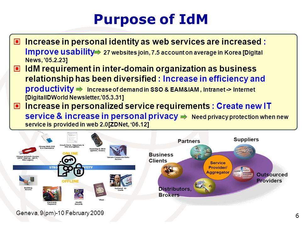 International Telecommunication Union Geneva, 9(pm)-10 February 2009 7 User-Centric IdM Technology
