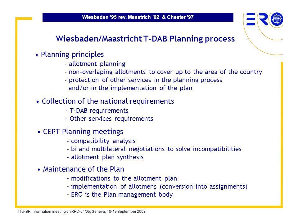 Wiesbaden 95 rev. Maastrich 02 & Chester 97 ITU-BR Information meeting on RRC-04/05, Geneva, 18-19 September 2003 Wiesbaden/Maastricht T-DAB Planning