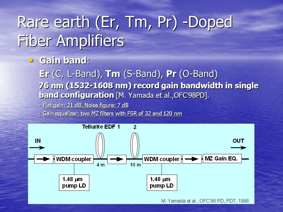 Rare earth (Er, Tm, Pr) -Doped Fiber Amplifiers Gain band: Gain band: Er (C, L-Band), Tm (S-Band), Pr (O-Band) 76 nm (1532-1608 nm) record gain bandwidth in single band configuration [M.