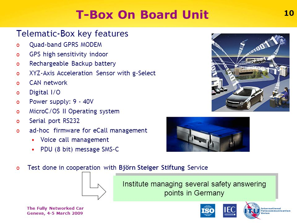 The Fully Networked Car Geneva, 4-5 March 2009 10 T-Box On Board Unit Telematic-Box key features o Quad-band GPRS MODEM o GPS high sensitivity indoor