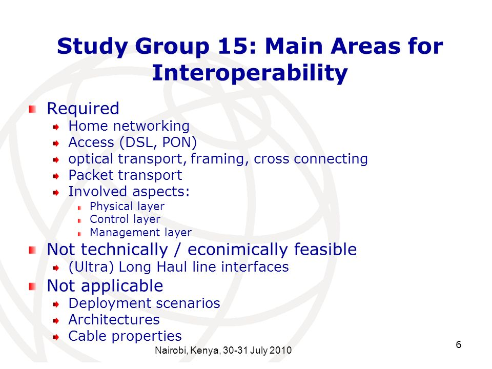 6 Study Group 15: Main Areas for Interoperability Required Home networking Access (DSL, PON) optical transport, framing, cross connecting Packet trans