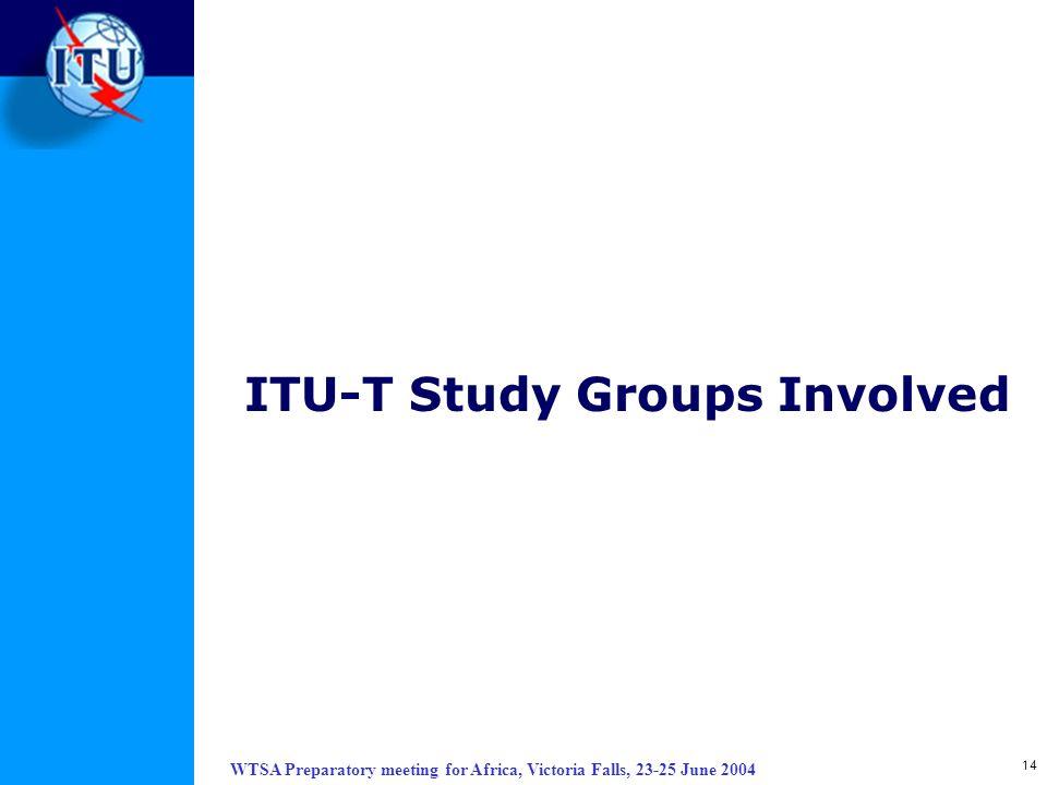 WTSA Preparatory meeting for Africa, Victoria Falls, 23-25 June 2004 14 ITU-T Study Groups Involved