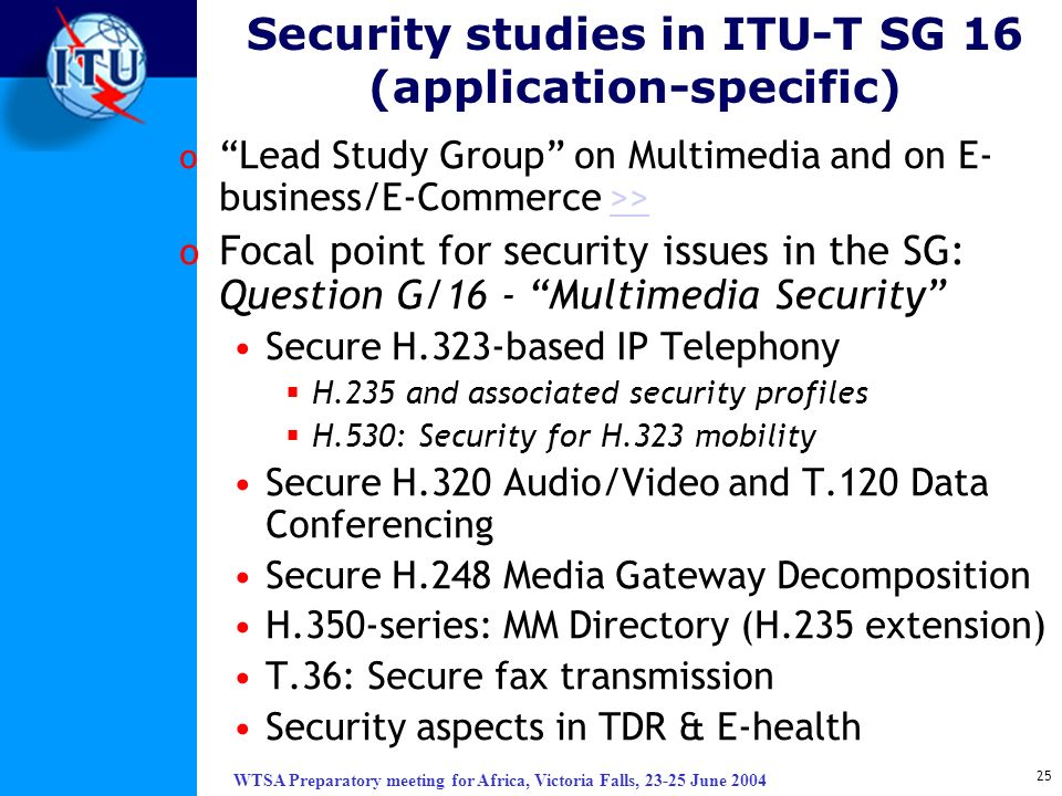 WTSA Preparatory meeting for Africa, Victoria Falls, 23-25 June 2004 25 Security studies in ITU-T SG 16 (application-specific) o Lead Study Group on M