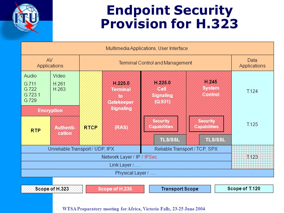 WTSA Preparatory meeting for Africa, Victoria Falls, 23-25 June 2004 Endpoint Security Provision for H.323 AV Applications Audio G.711 G.722 G.723.1 G