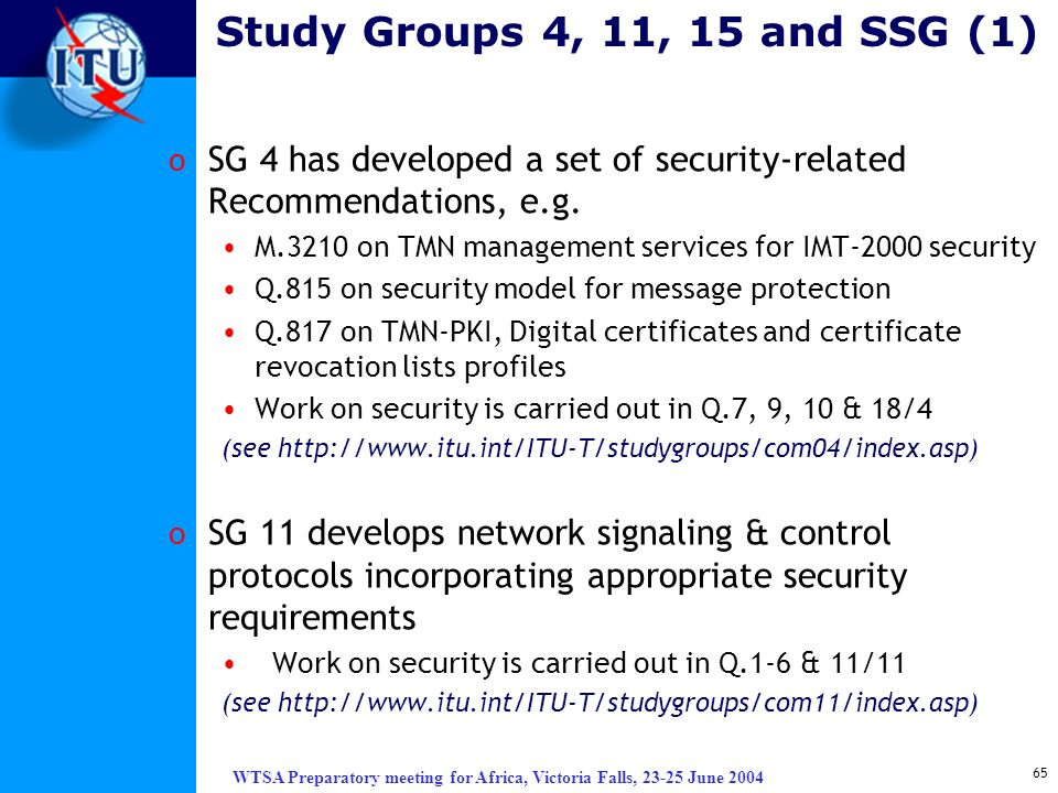 WTSA Preparatory meeting for Africa, Victoria Falls, 23-25 June 2004 65 Study Groups 4, 11, 15 and SSG (1) o SG 4 has developed a set of security-rela