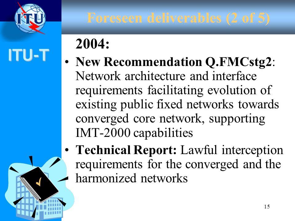 ITU-T 15 Foreseen deliverables (2 of 5) 2004: New Recommendation Q.FMCstg2: Network architecture and interface requirements facilitating evolution of
