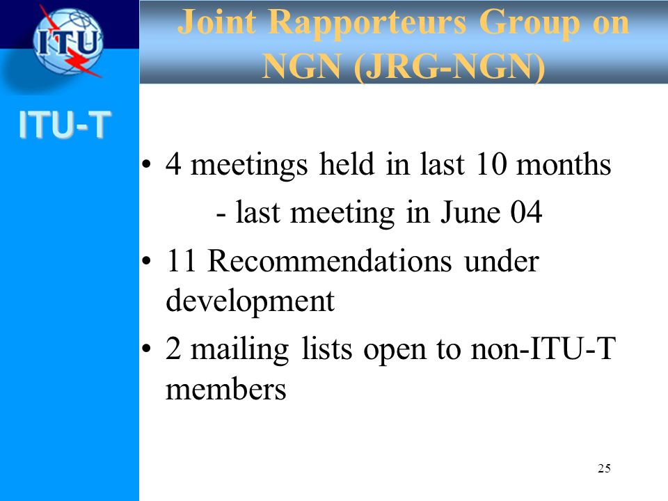 ITU-T 25 4 meetings held in last 10 months - last meeting in June 04 11 Recommendations under development 2 mailing lists open to non-ITU-T members Jo