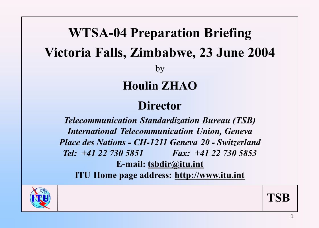 TSB 1 WTSA-04 Preparation Briefing Victoria Falls, Zimbabwe, 23 June 2004 by Houlin ZHAO Director Telecommunication Standardization Bureau (TSB) Inter