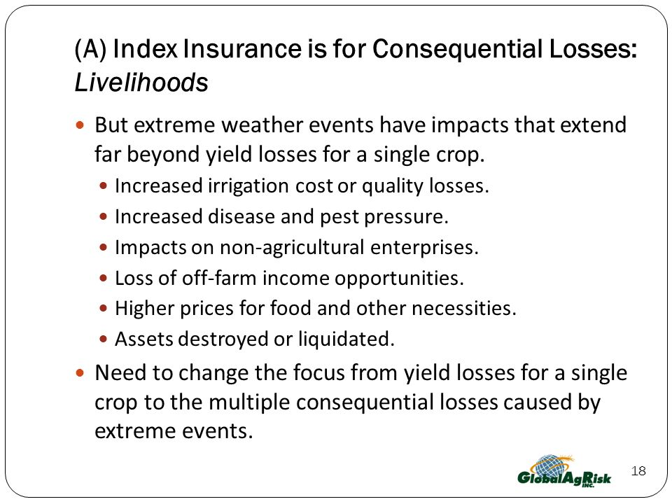 18 (A) Index Insurance is for Consequential Losses: Livelihoods But extreme weather events have impacts that extend far beyond yield losses for a single crop.