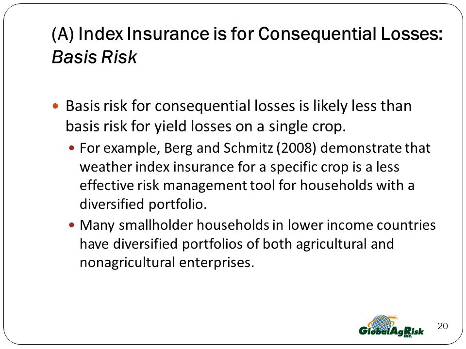 20 (A) Index Insurance is for Consequential Losses: Basis Risk Basis risk for consequential losses is likely less than basis risk for yield losses on a single crop.
