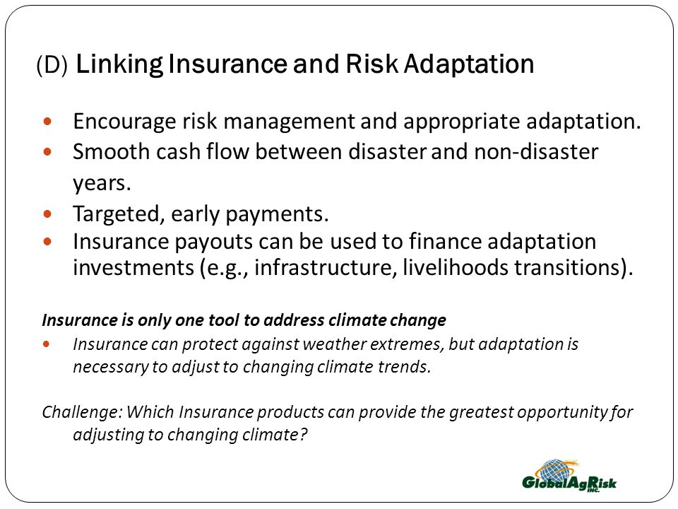 (D) Linking Insurance and Risk Adaptation Encourage risk management and appropriate adaptation.