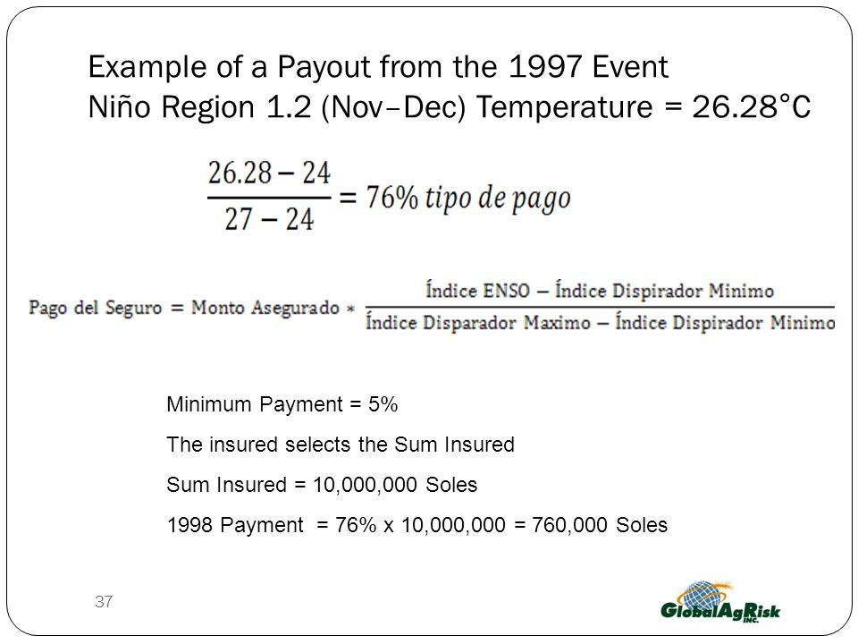 Example of a Payout from the 1997 Event Niño Region 1.2 (Nov–Dec) Temperature = 26.28°C Minimum Payment = 5% The insured selects the Sum Insured Sum Insured = 10,000,000 Soles 1998 Payment = 76% x 10,000,000 = 760,000 Soles 37